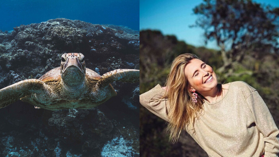 Photo of harriet spark and a turtle underwater